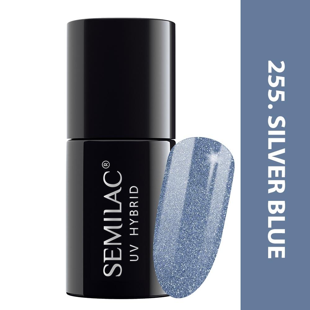 255 uv hybrid semilac platinum silver blue 7ml
