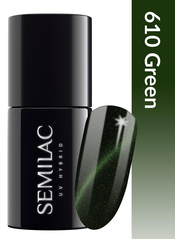 610 semilac cat eye green