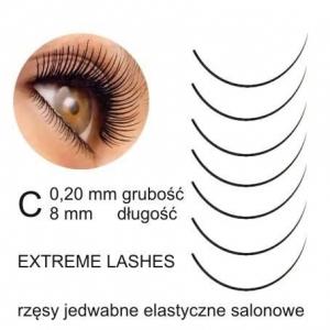extreme lashes rzesy jedwabne c 020 8mm