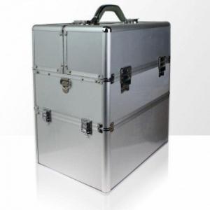 kuferek kosmetyczny dwuczesciowy gladki srebrny